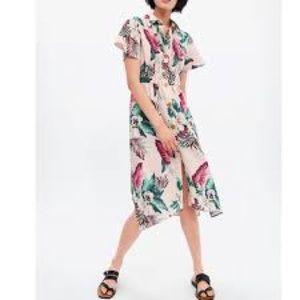 Zara tropical prints midi linen shirt dress XS